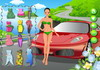 Game Lady in red car dressup